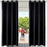 PRAVIVE Blackout Outdoor Curtain Drapes - Indoor/Outdoor Grommet Patio Blinds Waterproof Solid Cabana/Canvas Window Curtain Panels, Black, 52' Width by 108' Length, 1 Piece