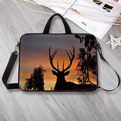 - Antlers Decor Portable Neoprene Laptop Bag,Black Deer Red Sky Background West Coast South Island New Zealand Nature Decorative Laptop Bag for Travel Office School,8.7