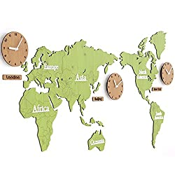HHYS World Map Wall Clock MDF Creative Wall Decoration 3D DIY Jigsaw Hanging Clock,Green/Log,13763Cm