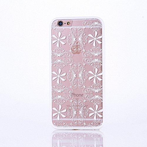 König-Shop Handy Hülle Mandala für Apple iPhone 7 Plus Design Case Schutzhülle Motiv Ornamente Cover Silikon Tasche Bumper Weiß