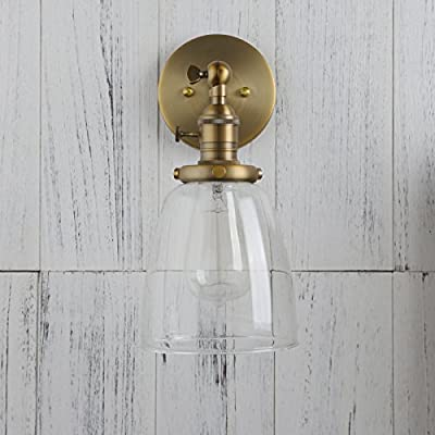 Permo Single Sconce with Oval Cone Clear Glass Shade 1-light Wall Sconce Wall Lamp Vintage Nostalgic Edison Filament Bulb Included