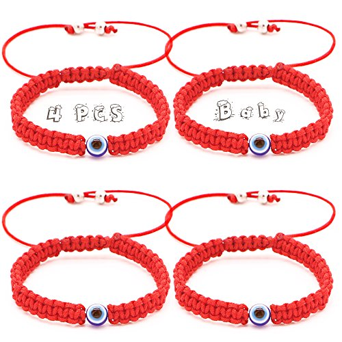 RufnTop 4 pcs Lucky Evil Protection for Baby Size Kabbalah Medal on Red Cord Braided String Ancient Silver Tone Inspirational Breathe Bracelet Evil Eye, 8 inch Blessing, Hand-Made(Baby Blue Eye)