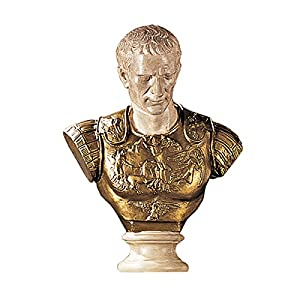 Design Toscano Julius Caesar in Armor Bust Statue, 27 Inch, Faux Bronze and Stone