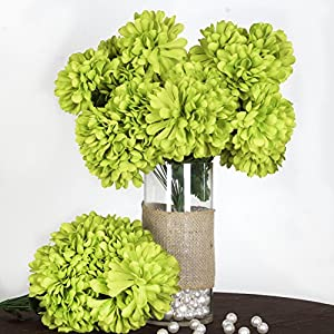 Tableclothsfactory 56 Large Chrysanthemum Mums Balls Artificial Wedding Flowers - 4 bushes - Lime Green 26