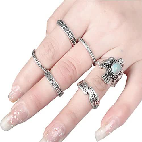 SUNSCSC Retro Vintage Turquoise Peace Dove Above Knuckle Ring Band Midi Ring Set of 6 Pcs