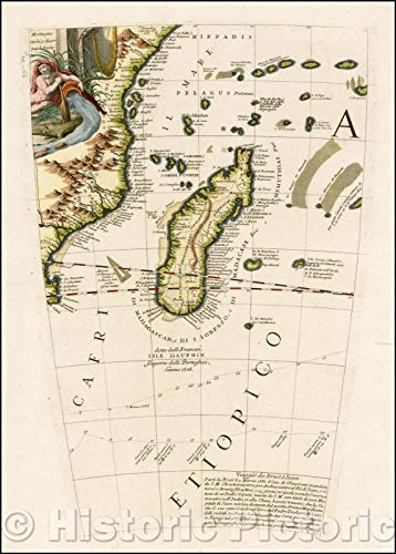 Historic Map | Madagascar, Mauritius, East Africa etc. - Globe Gore, 1692, Vincenzo Maria Coronelli | Vintage Wall Art 24in x 36in ()
