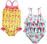 Simple Joys by Carter's Baby Girls' Toddler 2-Pack One-Piece Swimsuits, Yellow Flamingo/Blue Floral, 3T