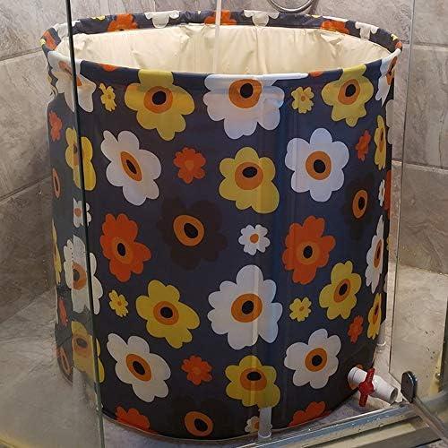 浴槽 家庭用風呂バレルアダルトプラスチックフルボディリムーバブルバスバレル家族風呂折りたたみバスタブ花柄70x65cm 大人用家庭用 (Color : Black, Size : 70x65cm)