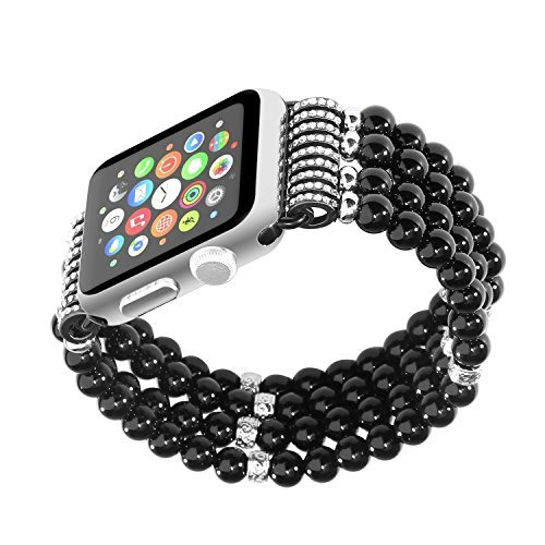 Finny Apple Watch Band, Fashion Handmade Elastic Stretch Faux Pearl Natural Stone Bracelet for Apple Watch Series 1 & Series 2 iWatch Band (Black, 42mm)