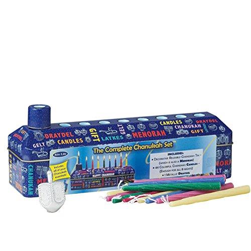 46pc Complete Chanukah Hanukkah Tin Kit - Menorah, Candles and Dreidel by Rite Lite