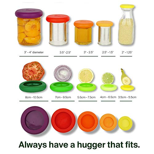 Food Huggers Reusable Silicone Food Savers Set of 5 (Fresh Greens) - Patented Product