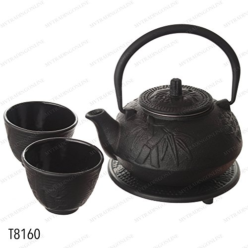 Trivet Tea (M.V. Trading New Star International T8160 Cast Iron Bamboo Tea Set with Trivet, 21 oz, Black)