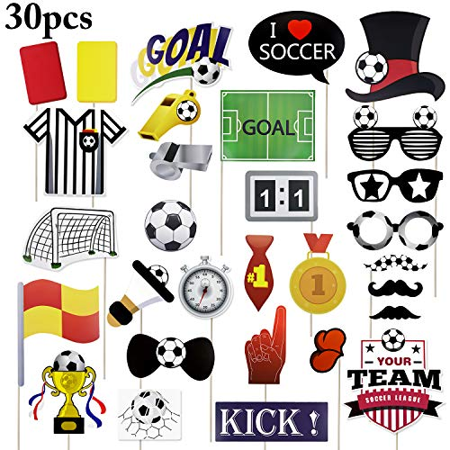 Funpa 30PCS Soccer Picture Props Decorative Cheerleading Party Photo Props for Soccer Event Season Soccer Party Themed Party]()