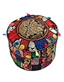 Ottoman Pouf Cover Multi-Color Decorative Indian Foot Stool Covers Handmade Round Cotton Pouf Ottomans Comfortable Embroidered PatchWork Vintage Traditional Living RoomFloor Cushion By Rajrang