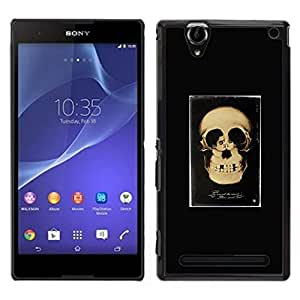 // PHONE CASE GIFT // Duro Estuche protector PC Cáscara Plástico Carcasa Funda Hard Protective Case for Sony Xperia T2 Ultra / Retro Skull Love Couple Black Poster /