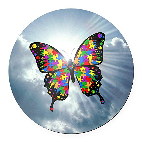 CafePress - Autism Butterfly Sky - Square Round Car Magnet - Round Car Magnet, Magnetic Bumper Sticker