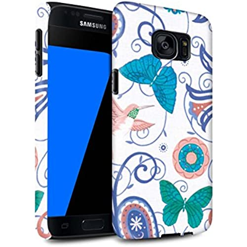 STUFF4 Matte Tough Shock Proof Phone Case for Samsung Galaxy S7/G930 / Blue/White Design / Springtime Collection Sales