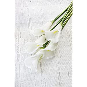 "25"" LARGE Handmade Real Touch Latex Calla Lilly artificial spring flowers for arrangements, bouquets, weddings, and centerpieces (Pack of 5) (Milky White) 2"