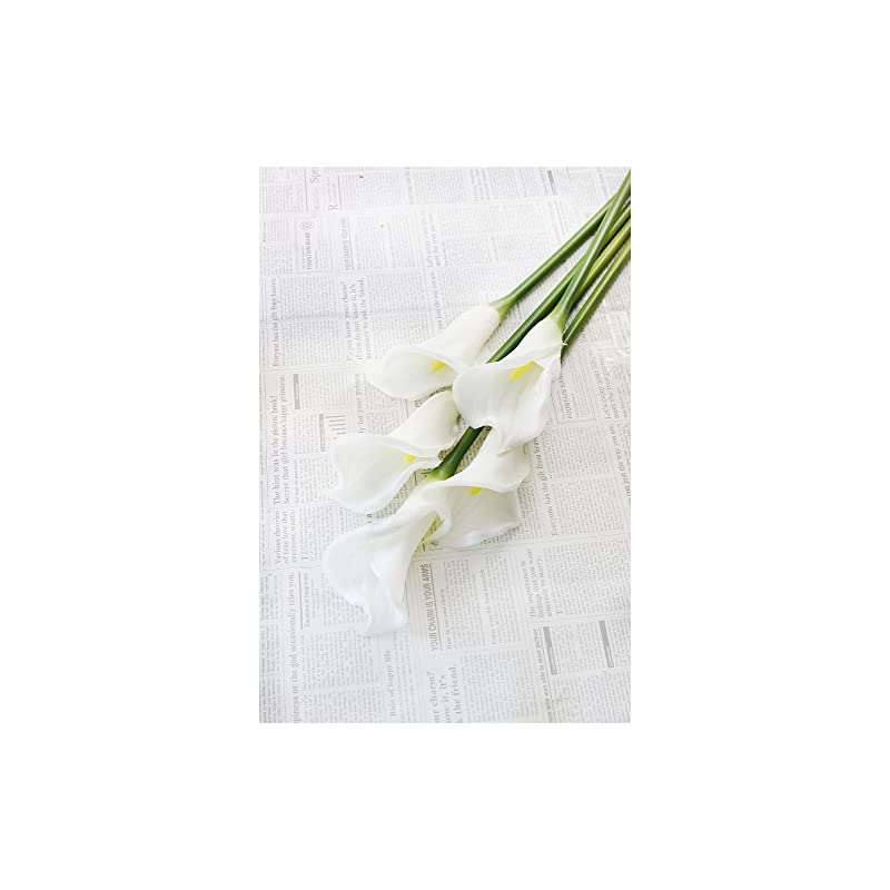 """silk flower arrangements 25"""" large handmade real touch latex calla lilly artificial spring flowers for arrangements, bouquets, weddings, and centerpieces (pack of 5) (milky white)"""