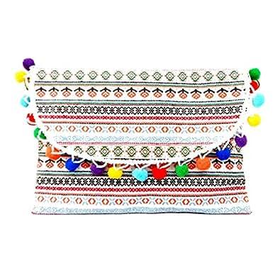 White Multi-Color Pom Pom Wristlet Clutch Bag with Straps 342311