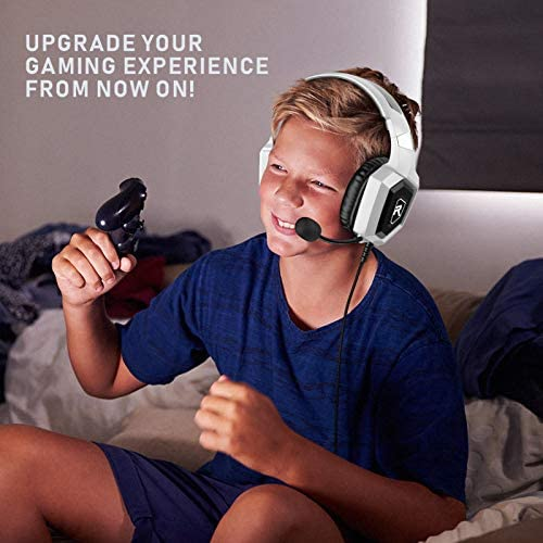 RUNMUS Gaming Headset for PS4, Xbox One, PC Headset w/Surround Sound, Noise Canceling Over Ear Headphones with Mic & LED Light, Compatible with PS5, PS4, Xbox One, Switch, PC, PS3, Mac, Laptop, White