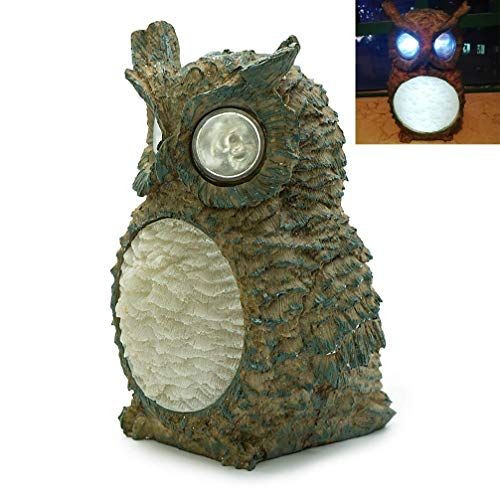Luwint LED Solar Powered Owl Lamp - Cute Wireless Waterproof Polyresin Statues Garden House Light for Yard Home Decoration Desk Study Nightstand Sleep Camping Work Gifts (Upgraded -