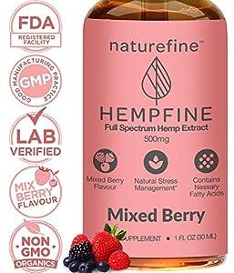 Hemp Oil - (500 MG) Zero THC CBD Cannabidiol - Full Spectrum Hemp Oil - New Mixed Berry Flavor - Natural Pain Relief & Anxiety - Hempfine - Proudly Grown & Made in USA from NatureFine