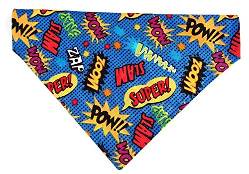 Comic Strip Print Super Hero Inspired Dog Bandanna, Reversible Over the Collar Slip Thru Thread Through Style Petwear Neckwear