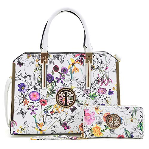 Dasein Women Large Handbag Purse Vegan Leather Satchel Work Bag Shoulder Tote with Matching Wallet (White Flower)