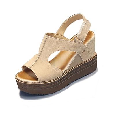 fb964a464a51da Sandales Mode Talons Compensés Chaussures Été Bride Arrière Confort Ouvert  Sandale pour Femme Beige 34