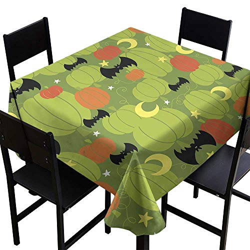 OUTDRART Rectangle Oblong Table Halloween Pumpkin Patch Seamless Repeat Pattern Vector,W50 x L50 Modern Washable Tablecovers -