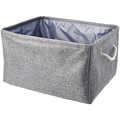 AmazonBasics Fabric Storage Basket Containers with Handles and Drawstring, Set of 2, Large - Large, attractive storage basket (2-pack) for neatly storing everyday items Made of non-woven fabric and high-quality cardboard for reliable structure Top drawstring closure keeps stored items hidden from sight - living-room-decor, living-room, baskets-storage - 513tlwefceL. SS400  -