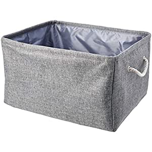 AmazonBasics Fabric Storage Basket Container with Handles and Drawstring, Large