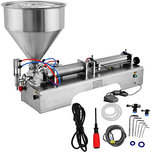 OrangeA Horizontal Full Pneumatic Liquid Filling Machine 100-1000ml Semi-auto Pneumatic Liquid Filling Two Nozzles Liquid Filling Machine (100-1000ML+ Hopper)