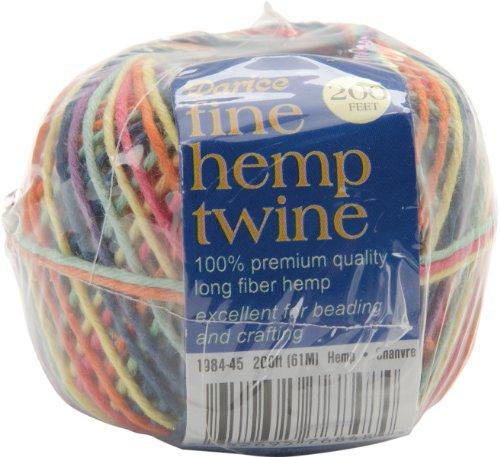 Darice - Fine Hemp Twine 6 Strand 200 Feet/Pkg-Multi Bright - Hemp Twine 6 Strand