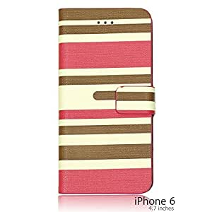 OnlineBestDigital - Striped Style PU Leather Wallet Flip Stand Case for Apple iPhone 6 (4.7 inch)Smartphone - Hot Pink