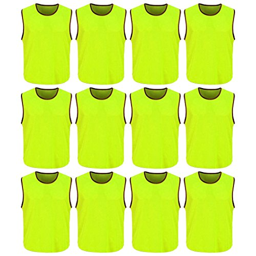 DreamHigh 12 Pack Soccer Team Sports Training Vest Adult Neon Green One size (L)