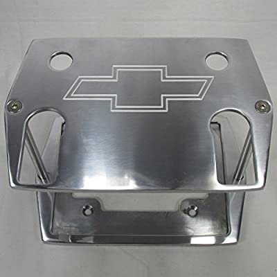 "Billet Aluminum Optima Battery Tray Holder Box - Chevy ""Bowtie"" Logo Polished Top - Group 75/35 Series Red, Yellow, Blue Top - Custom Chevy Camaro Corvette Nova Chevelle Battery Tray"
