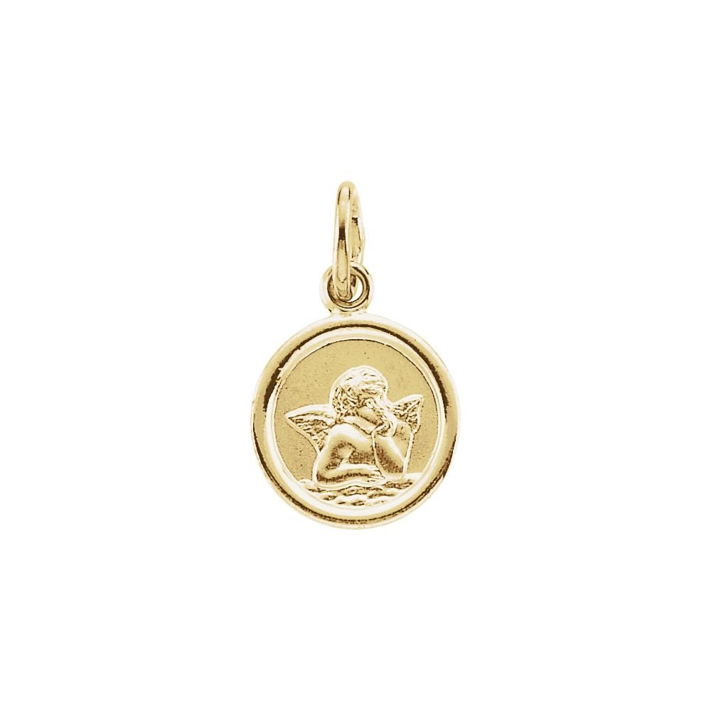 14K Yellow Gold 12mm Round Angel Medal