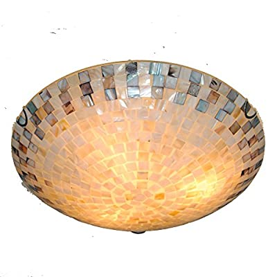 DINGGU™ 16 Inch 3 Lights Flush Mounted Stained Glass Tiffany Mosaic Ceiling Fixtures Lighting