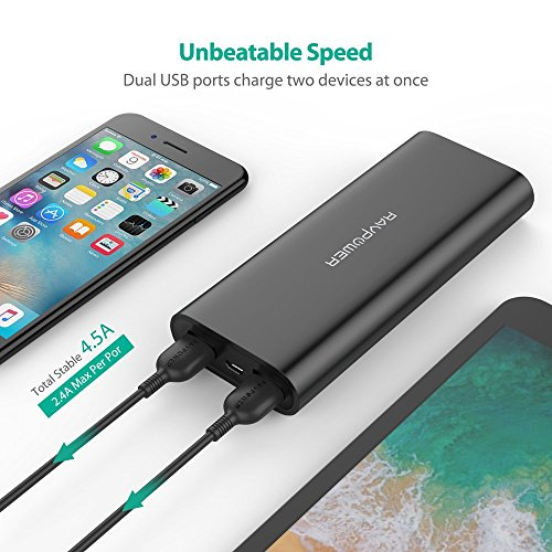 Portable Charger RAVPower 16750 Updated Phone Charger Battery 16750mAh Power Banks (4.5A Dual USB Output, iSmart 2.0 Tech) Phone Battery Pack for iPhone XS, iPhone X, iPad, Android Devices