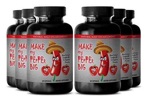 Best Male Enchantment Pills Increase Size - ''Make My Pepper Big'' with Maca Root, L-Arginine, Ginseng - Male Fertility Supplement ''Make My Pepper Big'' (6 Bottles 360 Capsules) by Sport Supplements