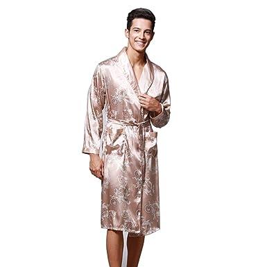 d48cf50ffb Daiwenwo Men Robe Gown Sleepwear Plus Size Luxurious Summer Autumn Bath Robe  Nightwear Male Pajamas WP032