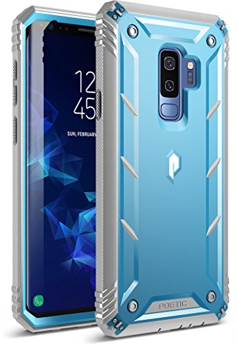 Poetic Galaxy S9 Plus Rugged Case, Revolution [360 Degree Protection] Full-Body Rugged Heavy Duty Case with [Built-in-Screen Protector] for Samsung Galaxy S9 Plus Blue/Gray
