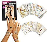 Hair Removal Cream Lasts How Long - Metallic Temporary Tattoos - 10 SHEETS Over 200 Gold Silver Tattoos Pinky Petals