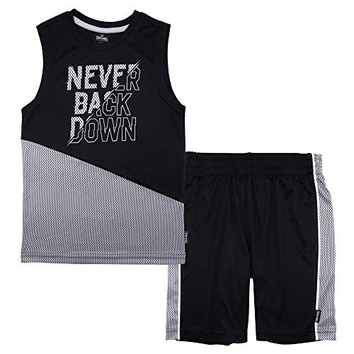 (Spalding Boys Tip Off Athletic Active Mesh Muscle Tank Top and Shorts Set, Black and Grey, 4)