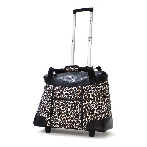 Olympia Deluxe Fashion Rolling Tote, Cheetah, One Size