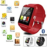 Mobile Link U8 Bluetooth Smart Watch With Touch Screen/Multilanguage/Wrist Watch With Activity Trackers And Fitness & Supports Apps Like Facebook And Whatsapp.. (RED) Compatible for Motorola Photon Q 4G LTE