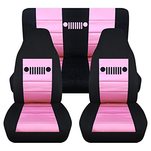 1997-2006 Jeep Wrangler TJ Seat Covers: Black & Sweet Pink - Full Set: Front & Rear (23 Colors) 1998 1999 2000 2001 2002 2003 2004 2005 2-Door Complete Back (2001 Sweet)