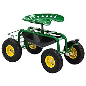 300 Lbs Solid Steel Axles Garden Cart Rolling Work Seat w/ Tool Tray & Utility Basket